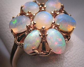 Antique Australian Opal Ring Art Deco Vintage Wedding 1930