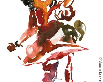 One of a Kind Abstract Figure Watercolor Painting, Original Fashion Illustration - 105
