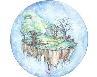 Faerie Island - Whimsical illustration print. Floating Island full of faeries.