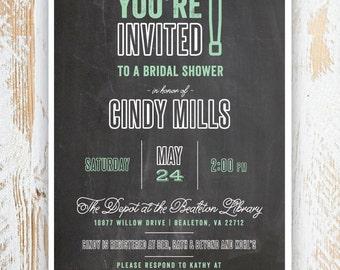 CHALKBOARD PARTY -- Bridal Shower Invitations, Chalkboard