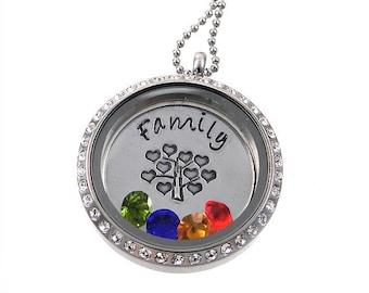 Floating Locket / Family Tree of Life Necklace / Charm Memory Locket