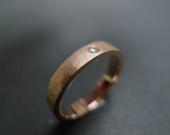 Solitaire Diamond Men's Rings Wedding Engagement Hammered Hammer Satin Ring Matte Finish Band Women Jewellery Custom Made in 14K Rose Gold