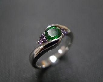 Green Garnet Ring, Amethyst Engagement Ring, Amethyst Ring in 14K White Gold, Garnet Engagement Ring, Garnet Jewelry, Wedding Ring