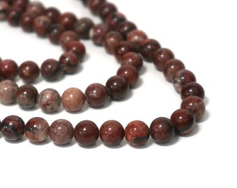 Red Picture Jasper beads, 8mm round natural gemstone bead, full & half strands available (803S)