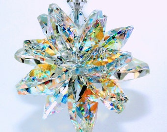 m/w Swarovski® crystal, The ORIGINAL 16 Octagon SUPER STAR Burst 18mm & 14mm Aurora Borealis Suncatcher Ornament, Pearl Place N More