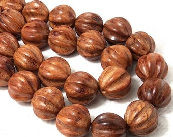 Bayong Wood, 20mm, Hand Carved Ball, Grooved, Round, Natural Wood Beads, Large, Big, 10pcs - ID 1875