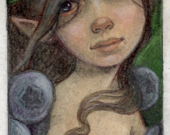 Blueberry Fairy....Original aceo Fairy Art