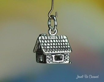 Sterling Silver Stone or Brick House Charm Home Cottage Building .925