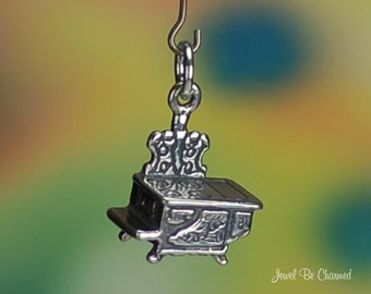 Sterling Silver Wood Burning Stove Charm Antique or Coal Style 3D .925