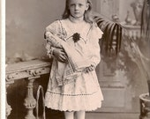 Beautiful Cabinet Photo  - Girl with Porcelain Doll - England - Flower Basket - Victorian