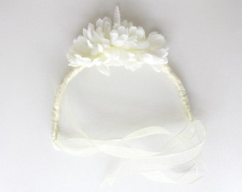 Unicorn and Dahlia Ivory Crown Headdress // one of a kind // wedding, renaissance, festival, everyday magic and fantasy