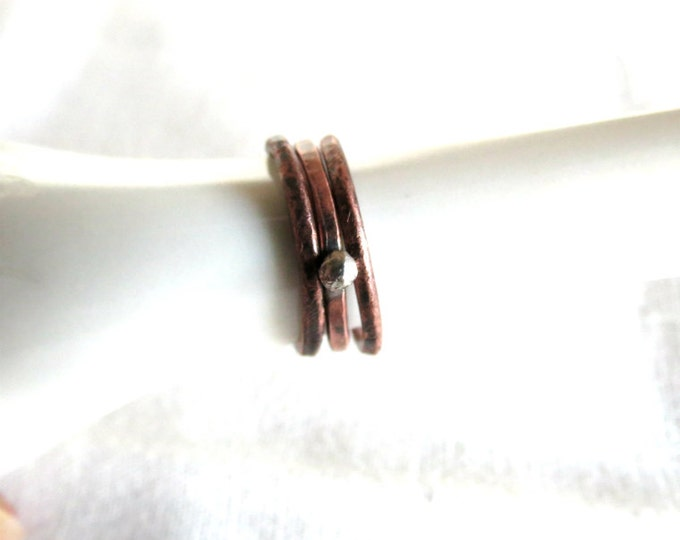 Stacking Rings, Set of three, Skinny Rings, Copper, Sterling Silver Ring, Handmade Jewelry, Gift Idea, Artisan, Rustic, Tribal