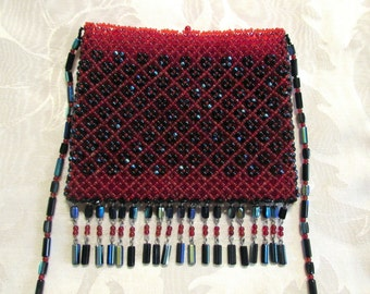 Boho Czech Glass Beaded Purse 1960s Bohemian Handbag Hippie Purse Retro Red Black Beads Mint Condition