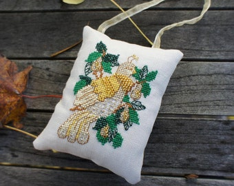 Cross Stitch Christmas Ornament Partridge in a Pear Tree