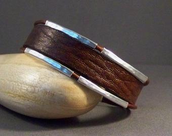 Boho Leather Bracelet, Charm Bracelet, Women's Leather Bracelet, Bangle Bracelet, Leather wrist Bracelet, Vintage Brown Bracelet, gift