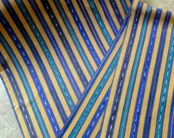 Guatemalan Fabric in Brown, Green, and Blue Stripe