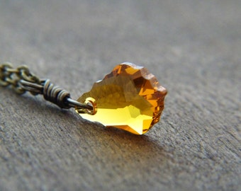 Amber Crystal Necklace - Amber Yellow Baroque Swarovski Necklace - Shimmer Sparkle Glitter Jewelry - Fall Jewelry
