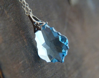 Blue Crystal Necklace - Sterling Silver Necklace - Blue Swarovski Crystal Necklace - Baroque Swarovski Necklace - Shimmer Glitter Jewelry