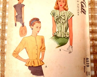 Vintage pattern McCall 6519 1940s blouse Sewing Bust 34 peplum Bow Post War Uncut