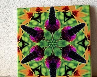 Ceramic tile Prairie clover and sunflower kaleidoscope, botanical trivet, green yellow violet purple garden flower, decorative tile 525