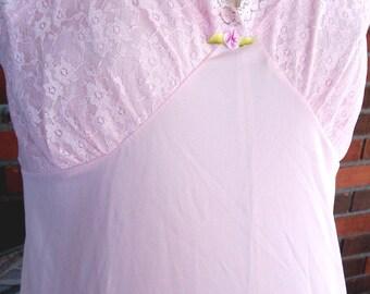 VINTAGE Full SLIP, New Old Stock, Prettiest PINK Sz 34/Medium, Lace Bodice & Hem, Sweet Ribbon Rose, Charmingly Romantic Lingerie