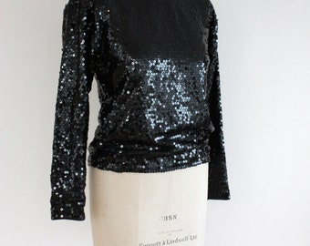 SALE Vintage 1980s Yves Saint Laurent Designer Sequinned Black Top Size 38 S/M