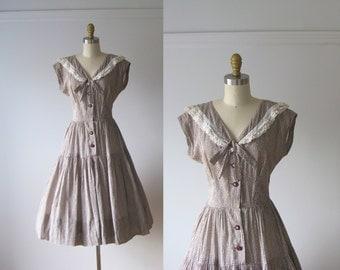 vintage 1950s dress / 50s dress / Cocoa Picnic