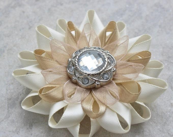 Ivory Flower Hair Clip, Ivory Wedding Hair Flower, Ivory Hair Flower, Beige Hair Flower, 3 inch Hair Bow, Big Hair Flowers, Ivory Bridesmaid