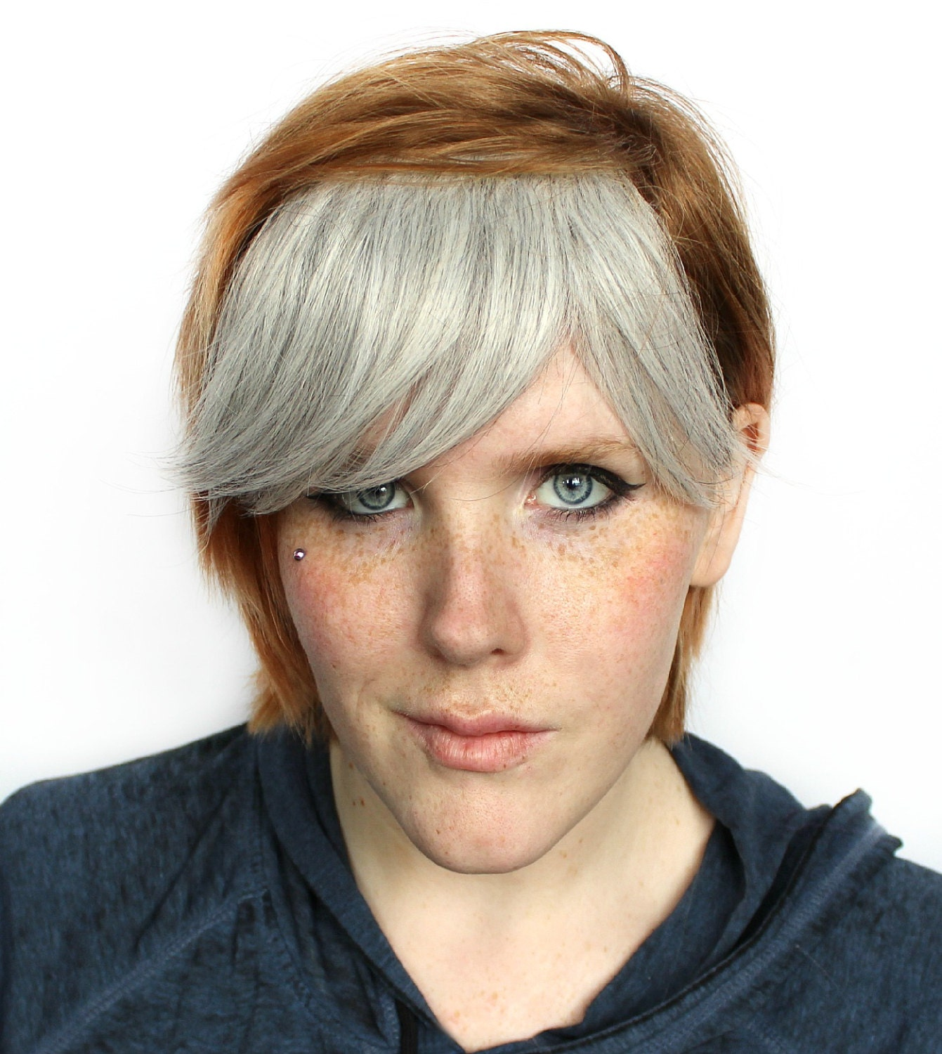 Silver Clip In Bangs Fringe Dyed Effect Black Silver
