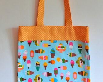 Cotton Tote Book bag Summer Market tote purse for the book lover ice cream sundae cone banana split