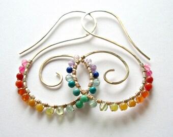 Rainbow Hoop Earrings, Boho Hoops, Gold Swirl Earrings, Spiral Earrings, Hammered Gold Hoops, Rainbow Gemstones, Boho Hoop Earrings