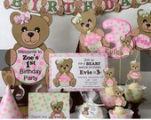Girl Pink Teddy Bear Baby Shower  or 1st Birthday Party Decorations- Invitation, Party Package, Cupcake, Banner, Cake Topper, Invite