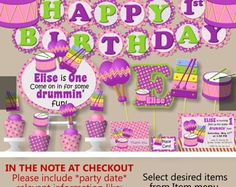 Baby Girl First Birthday Music Party OR Baby Shower -Party Package, Invitation, Banner, Cake Topper, Centerpiece, Decorations, Favor, Hat