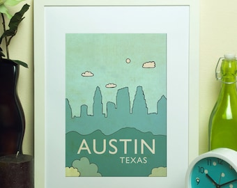Austin No.6 // Children Home Decor Nursery Art Print Skyline Illustration and Typography City Travel Cityscape Landscape Art Print