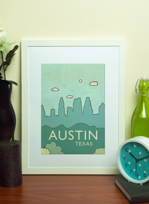 Austin No.6 // Children Home Decor Nursery Art Print Skyline Illustration and Typography City Travel Cityscape Landscape Art Print