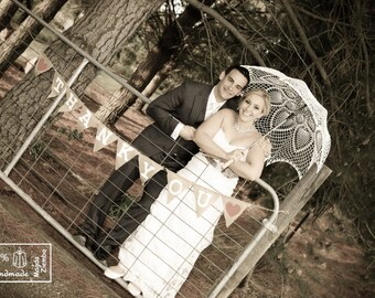 "48"" IVORY Lace Crochet UMBRELLA PARASOL,  Summer Wedding"