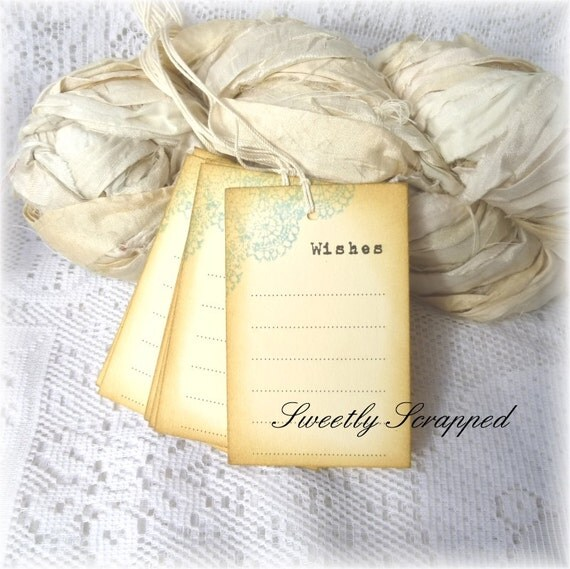 Prestrung Wishes Tags, Pretty Blue Corner, Vintage and Shabby Inspired, Prestrung with cream twine