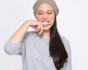 Brown Beanie, Diamond Pattern, women hat, winter beanie, knitwear, pattern knit