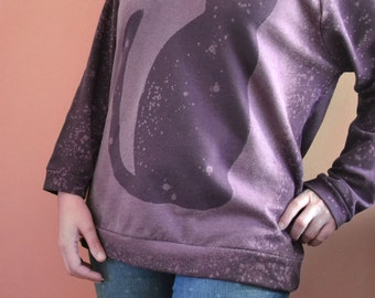 Purple Womens Cat Sweatshirt, Space Cat Sweater, Bleach Shirt, 3/4 Legnth Sleeve, Cozy Sweatshirt, Off The Shoulder Top, Yoga Sweater