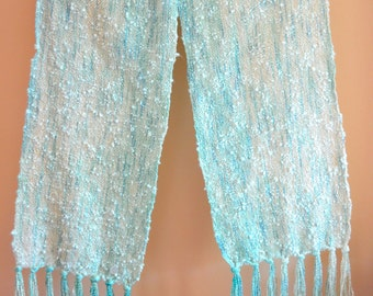 Handwoven Turquoise Scarf, Pastel Scarf with Cotton Boucle, Hand Dyed Scarf, I kat Scarf, Wife Gift, Gifts for Women