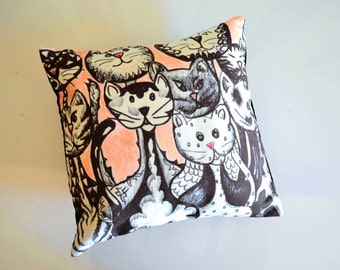 Cat Throw Pillow - Pink and Black and White Cats  - Gifts For Cat Lover,  Cat Decor - 12 x 12 Pillow Cover