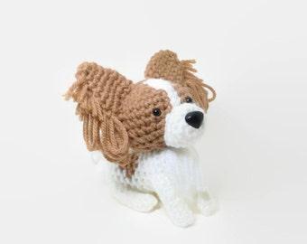 Papillon Stuffed animal Amigurumi Dog Crochet Puppy Plush / Made to Order