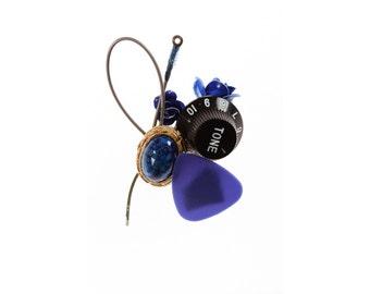 Blue Guitar Boutonniere | Musician Wedding Groom Groomsmen | Prom Homecoming | Guitar String | Volume Knob | Buttonhole | Boutineer 1000567