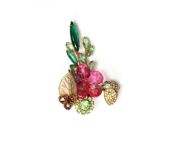 Buttonhole - Handmade Green and Pink Marquis Insect Boutonniere - Critter - Alternative Groom Style - 1000053