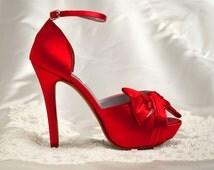 "Custom Color - Wedding Shoes, Red Wedding Shoes,Bridal Shoes 4"" Heel - Peep Toe Heels-Over 250 Custom Colors, Pink2Blue Custom Wedding Shoes"