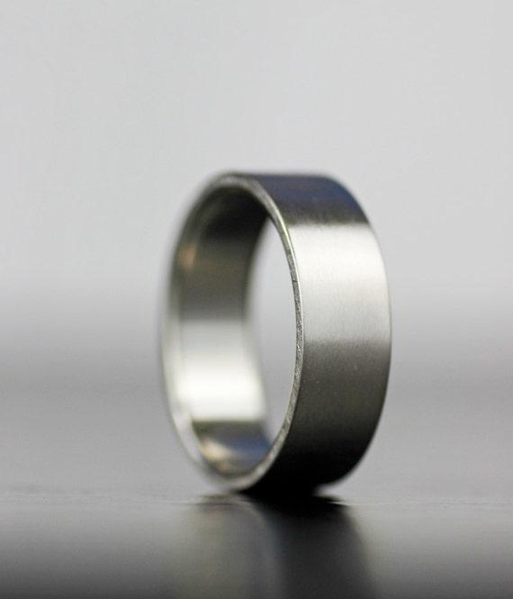 Mens Flat Wedding Band Matte Wedding Ring Platinum Or Gold