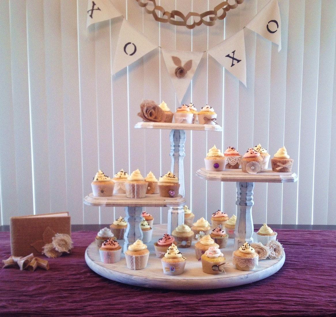 Wedding Cupcake Stand Large Round Base 3 Tier Pedestal