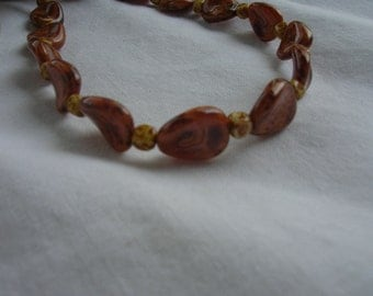 Pink and Brown Delicate Czech bead Necklace