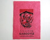 Crouching Gargoyle, Lakeshore Drive Chicago: Linocut and Letterpress on Handmade Cotton / Kozo Paper, Editioned