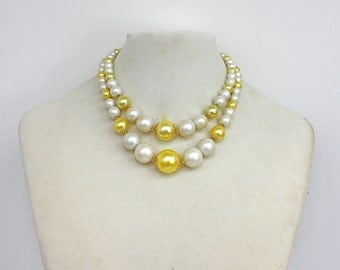 Vintage 60s Bead Necklace Bright Yellow White Double Stand Plastic Bead Choker Japan